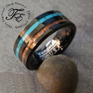 Men's Tungsten Ring Turquoise and Wood Inlays